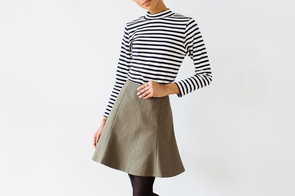 Of a Kind Olive Canvas Skirt