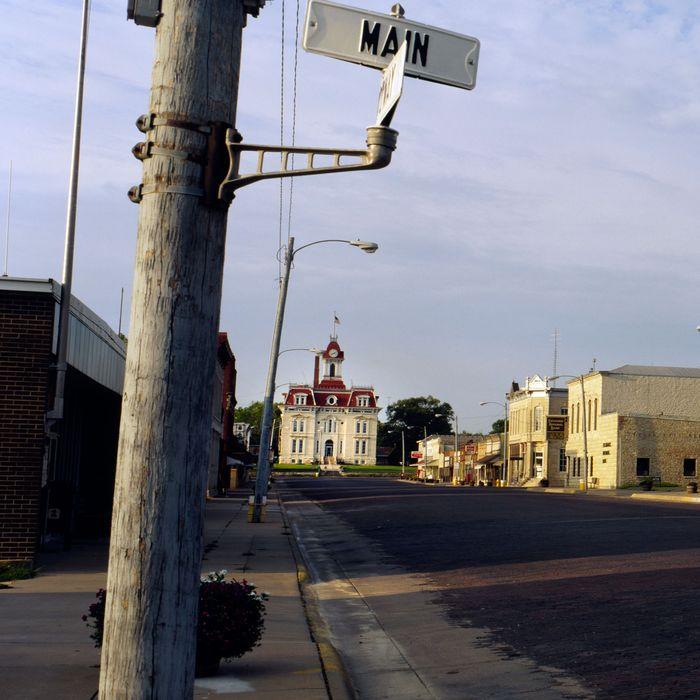 Empty road passing through a town, Cottonwood Falls, Kansas, USA