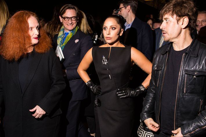 Grace Coddington, Hamish Bowles, Lady Gaga, and Steven Klein at Balenciaga.
