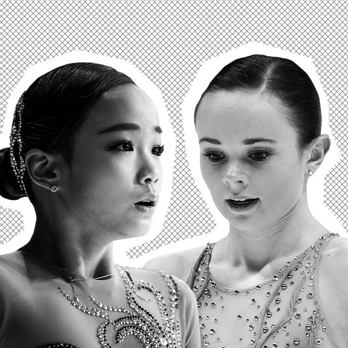 Lim Eun-Soo and Mariah Bell at the ISU World Figure Skating Championships.