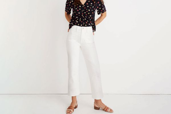 Slim Wide Leg Jeans in Tile White: Patch Pocket Edition