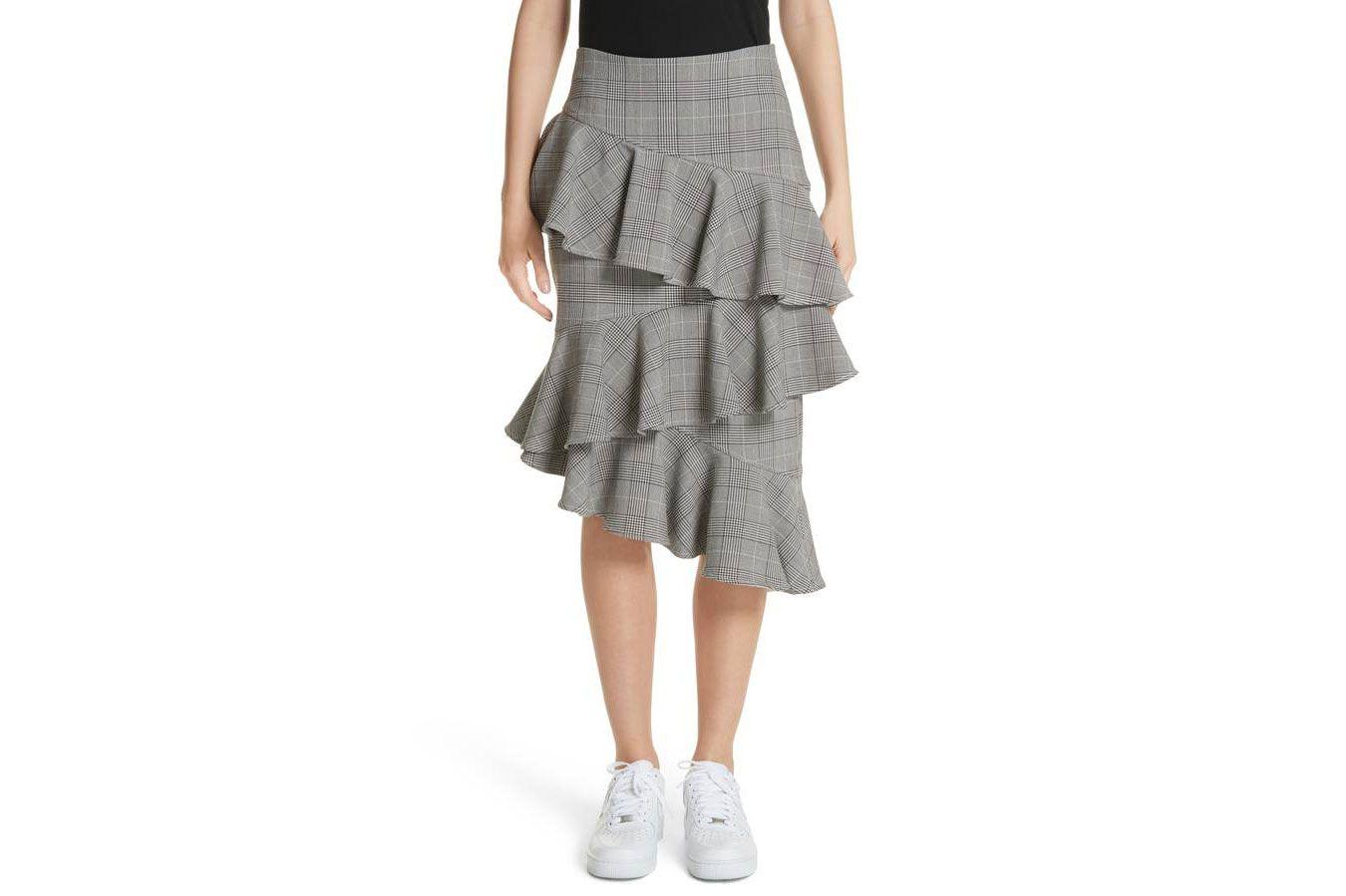 Ganni Garvey Plaid Ruffle Tier Skirt