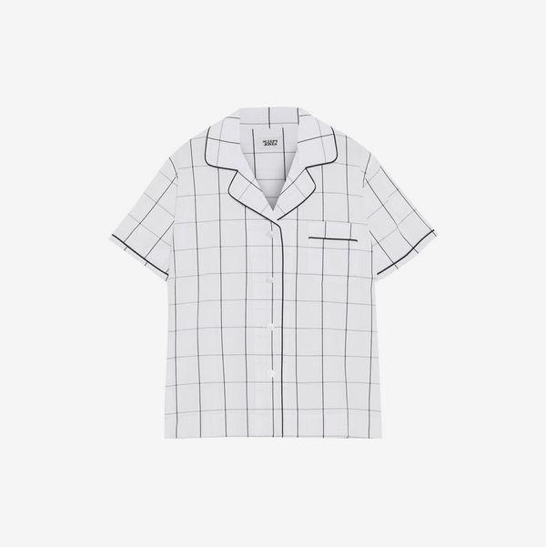 Corita Checked Cotton Pajama Top - strategist best corita short sleeved checked pajama top with button top and collar