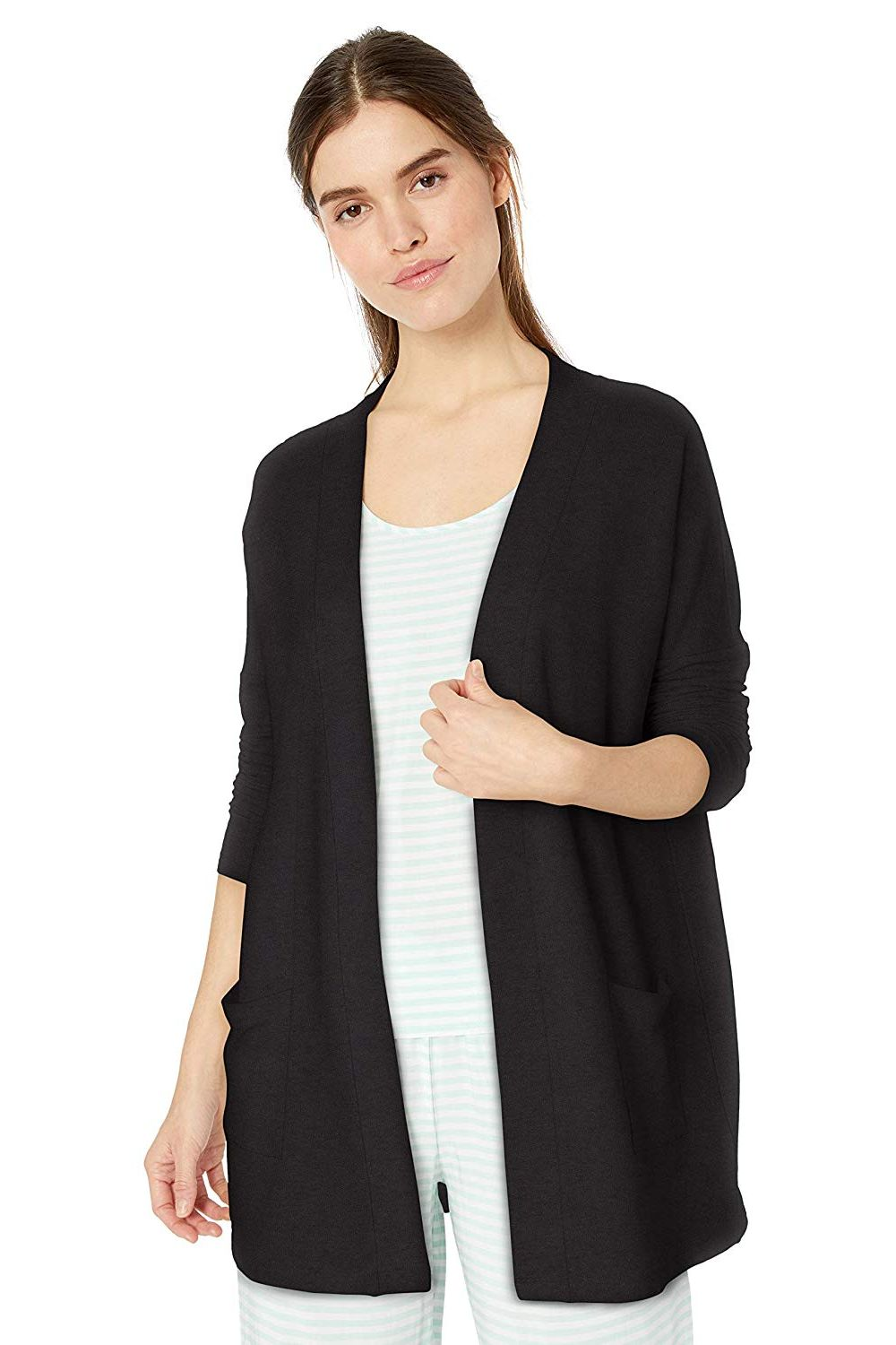 b0b4157cc Amazon Essentials Women s Lightweight Lounge Terry Open-Front Cardigan