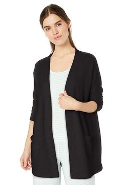 Amazon Essentials Women's Lightweight Lounge Terry Open-Front Cardigan in black