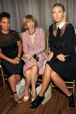 NEW YORK, NY - SEPTEMBER 06: (L-R) Singer Alicia Keys, Vogue editor-in-chief Anna Wintour, and tennis player Maria Sharapova attend the Jason Wu fashion show during MADE Fashion Week Spring 2014 at 82 Mercer on September 6, 2013 in New York City.  (Photo by Ben Gabbe/Getty Images)