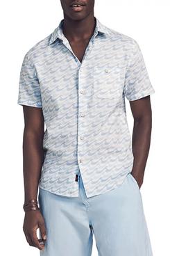 Faherty Playa Wave Print Short Sleeve Button-Up Shirt
