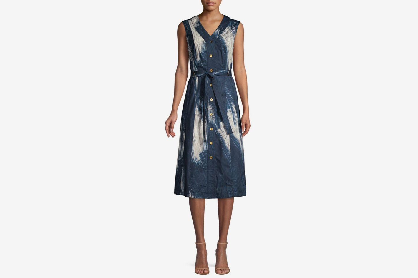Donna Karan New York Sleeveless Printed Midi Dress