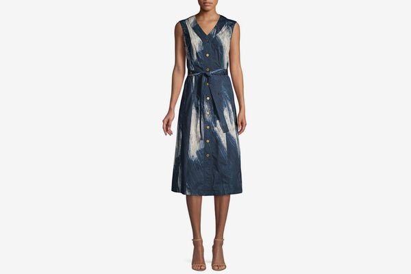 Donna Karan New York Sleeveless Printed Midi Dress