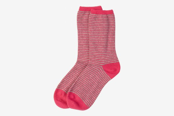 Hot pink and silver women's cashmere socks