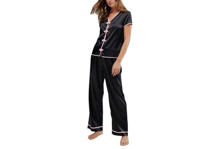 Wolf & Whistle Black Pajama Set
