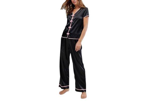 Wolf & Whistle Black Pajama Set