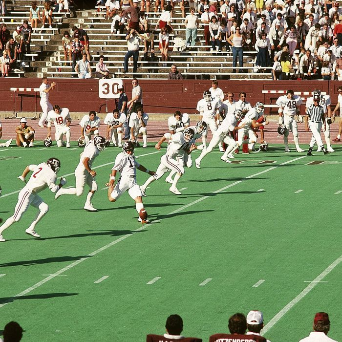 College Football: Texas A&M 12th Man squad on field during the Former Students game at Kyle Field. College Station, TX 4/23/1984