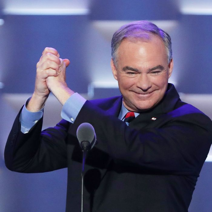 Tim Kaine will check your tire pressure for you.