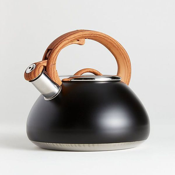 Primula Matte Black Tea Kettle with Wood-Look Handle