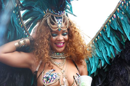 Rihanna is pictured on a float Kadooment day in Barbados