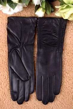 Women's Lambskin Touchscreen Texting Leather Gloves Winter Lined Long Sleeves