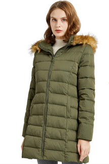 Orolay Women's Winter Thickened Faux Fur Hooded Down Jacket