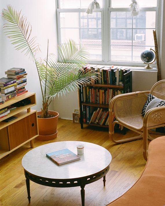 A living room with a round coffee table, a cane armchair, orange velvet sofa, palm plant, and bookshelves