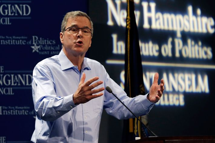"Former Florida Gov. Jeb Bush speaks at a ""Politics and Eggs"" event, a breakfast fixture for 2016 presidential prospects, Friday, April 17, 2015, at Saint Anselm College in Manchester, N.H. (AP Photo/Elise Amendola)"