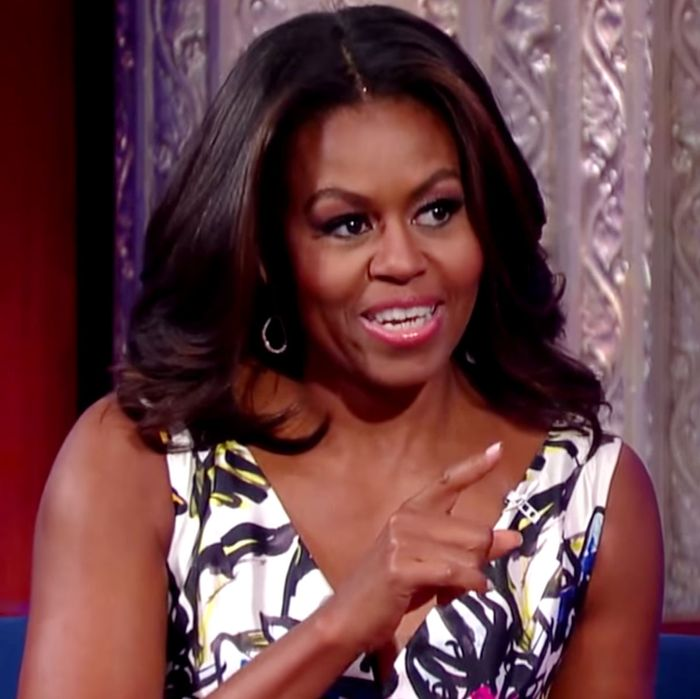 Michelle on <em>Colbert</em>.