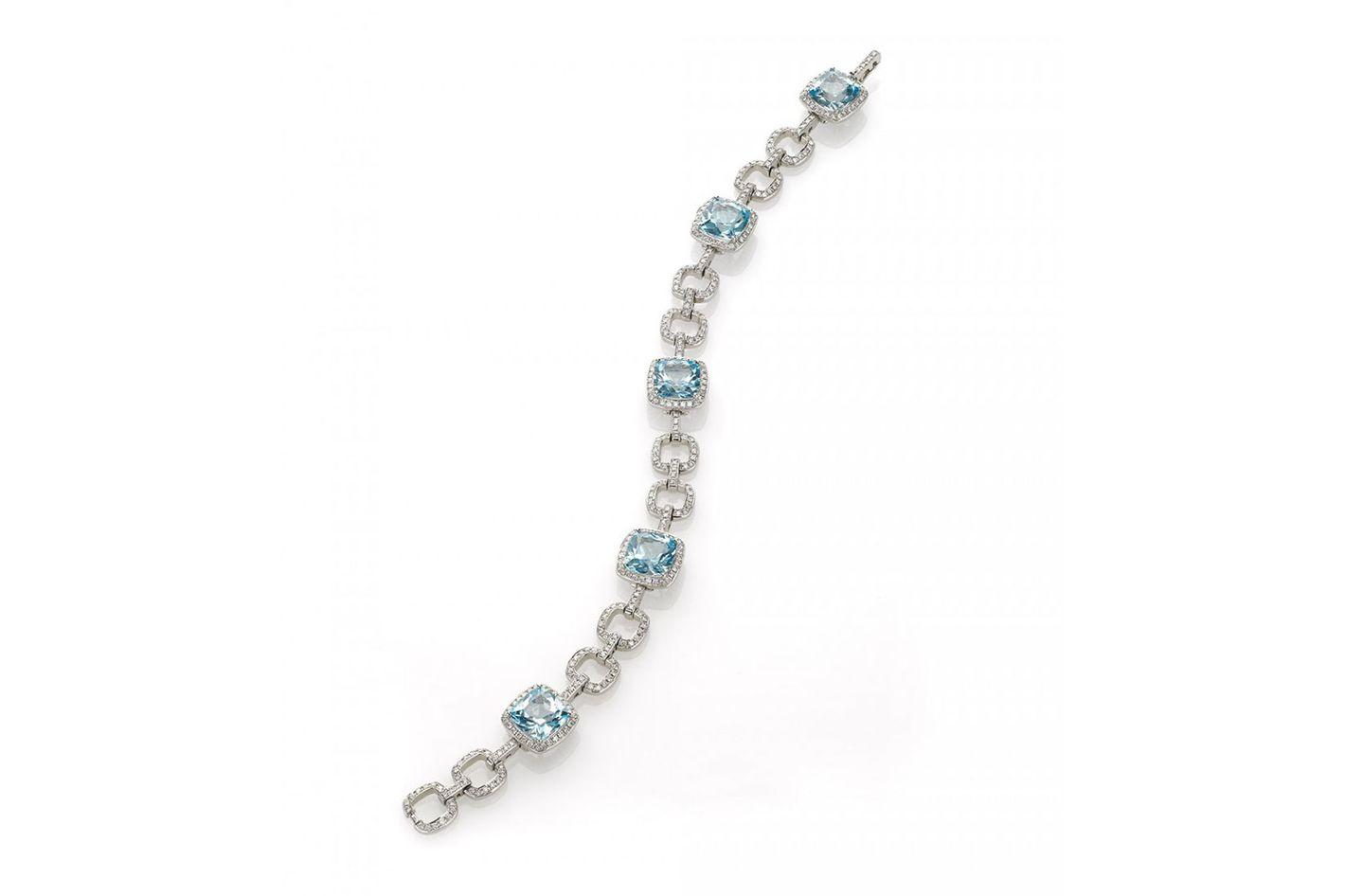 Eiseman Collection, 18 Karat White Gold, 5 Blue Topaz Gemstones With 340 Pave Diamonds