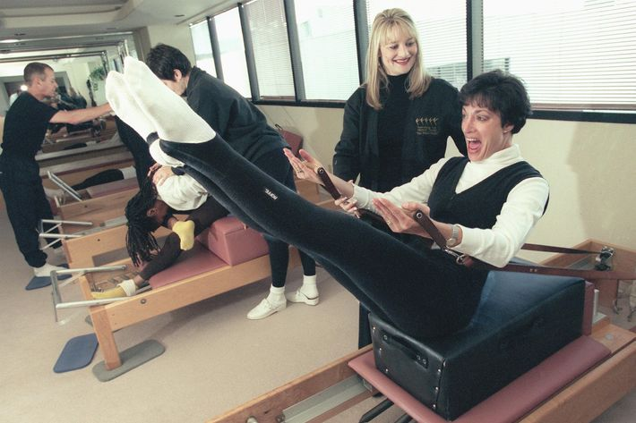 Arlene Bronsteingoes through the pilates exercises at the Performing Arts Physical Therapy and Pilat