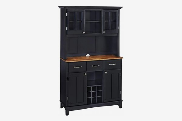 Home Styles Buffet of Buffets Black with Cottage Wood Top