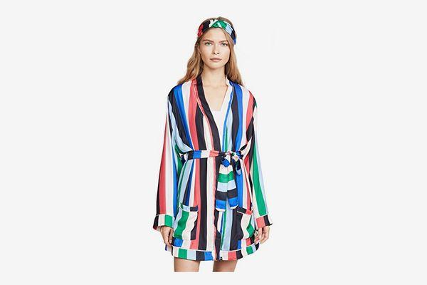 Plush Rainbow Stripe Robe with Headband Set
