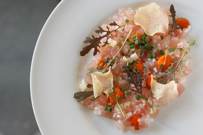 Albacore crudo with pumpkin, basil, and crispy sunchokes.
