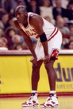 Michael Jordan in his namesake sneakers.