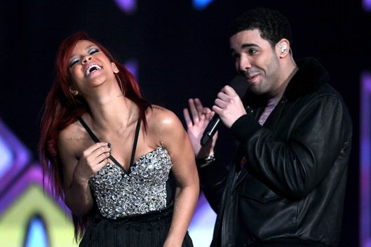Singer Rihanna (L) and rapper Drake perform during the 2011 NBA All-Star game halftime show at Staples Center on February 20, 2011 in Los Angeles, California.