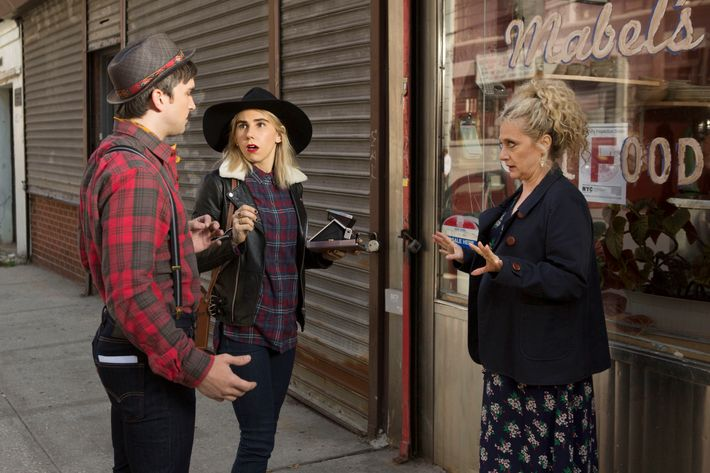 Evan Jonigkeit as Bob, Zosia Mamet as Sue, Carol Kane as Lillian.