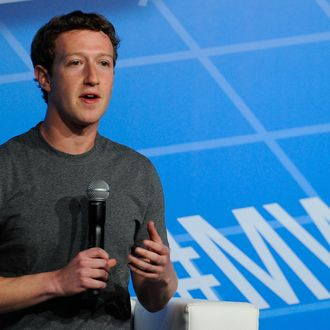 Co-Founder, Chairman and CEO of Facebook Mark Zuckerberg speaks during his keynote conference as part of the first day of the Mobile World Congress 2014 at the Fira Gran Via complex on February 24, 2014 in Barcelona, Spain. The annual Mobile World Congress hosts some of the world's largest communication companies, with many unveiling their latest phones and gadgets. The show runs from February 24 - February 27. (Photo by David Ramos/Getty Images)