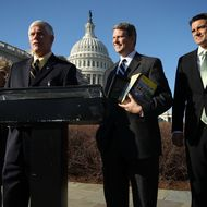 WASHINGTON, DC - FEBRUARY 07: U.S. Rep. Pete Sessions (R-TX) (2nd L) speaks as Rep. Diane Black (R-TN) (L), Rep. Bill Huizenga (R-MI) (2nd R) and Rep. Kevin Yoder (R-KS) listen during a news conference to launch the Yellow Pages Caucus February 7, 2012 on Capitol Hill in Washington, DC. The caucus was formed to try to open up bidding for services performed by the government that can be done by private contractors. (Photo by Alex Wong/Getty Images)