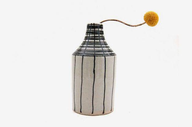 Black and White Ceramic Basket Bottle Vase