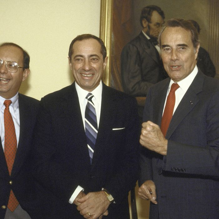 (L-R) Senator D'Amato, NY Governer Cuomo and Senetor Bob Dole on Capital Hill in reference to Budget. (Photo by Terry Ashe/The LIFE Images Collection/Getty Images)
