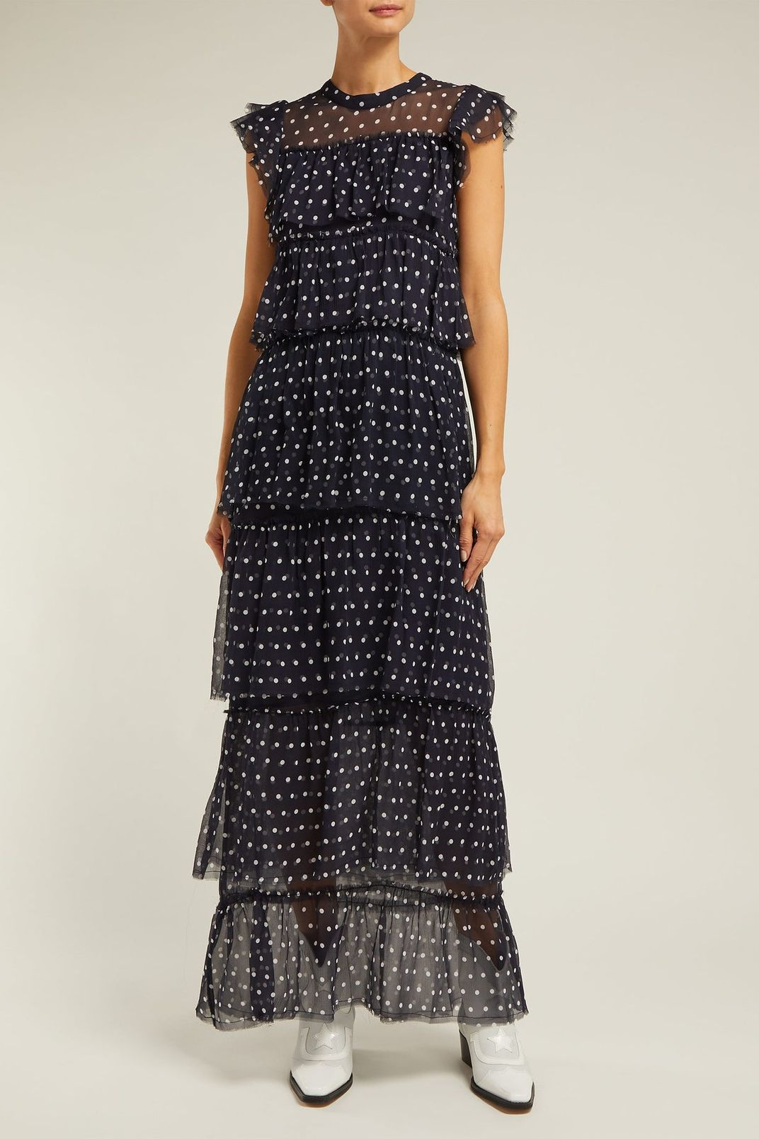 Sir Marceau Tiered Polka-Dot Silk Dress