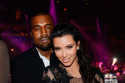 Kanye West and Kim Kardashian celebrate New Years Eve countdown at 1OAK Nightclub at the Mirage on December 31, 2012 in Las Vegas, Nevada.