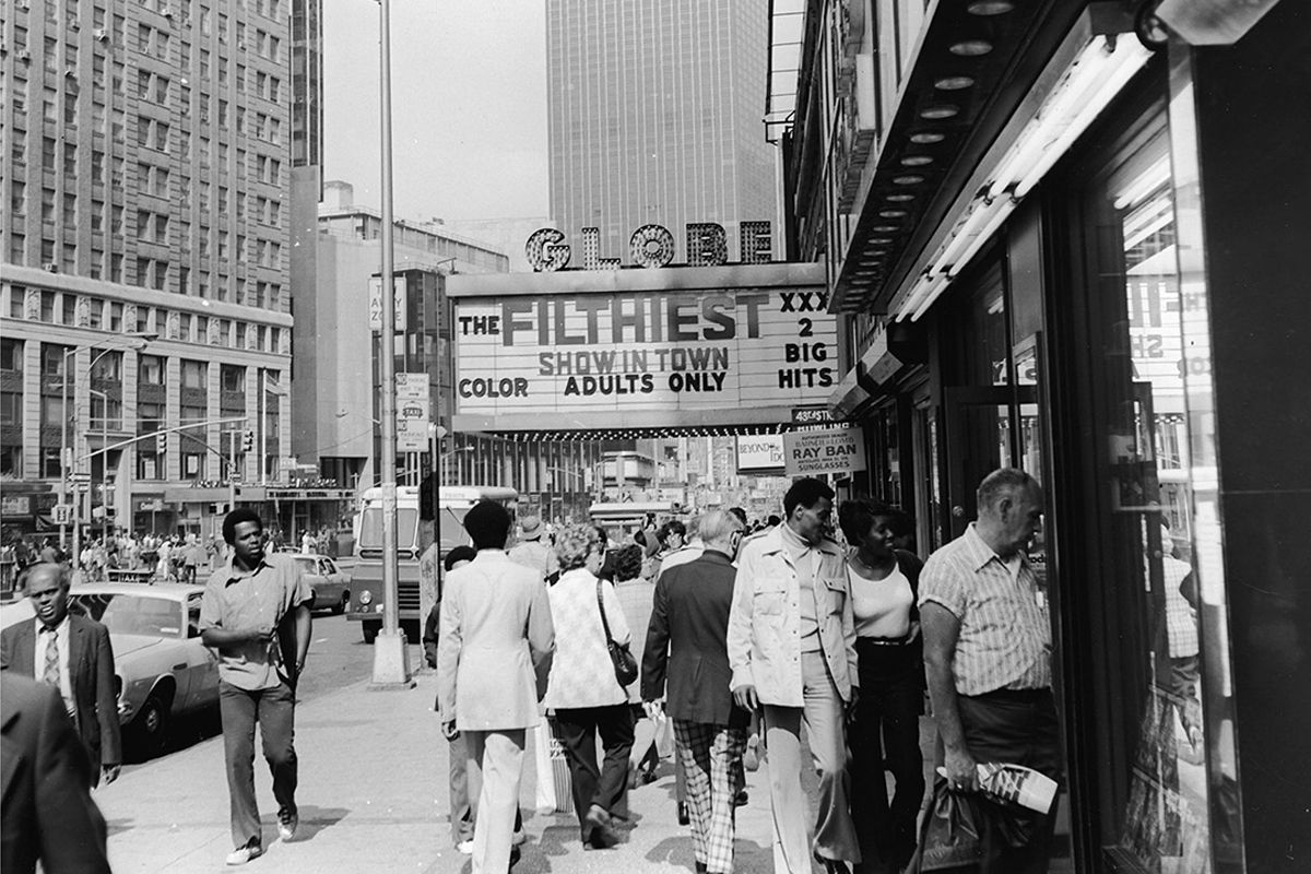 "<span class=""clay-designed kiln-phrase"">1975</span> Times Square, a grindhouse movie theater at Broadway and 43rd Street, which is now near the location of 4 Times Square, where Condé Nast was headquartered until 2015."