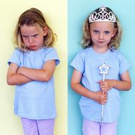 Sister Pouting Over Her Twin Sister's Crown and Magic Wand