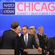 CHICAGO, IL - MAY 20:  U.S. President Barack Obama arrives for a meeting during the NATO summit on May 20, 2012 in Chicago, Illinois. As sixty heads of state converge for the two day summit that will address the situation in Afghanistan among other global defense issues, thousands of demonstrators have taken the streets to protest. (Photo by Kevork Djansezian/Getty Images)