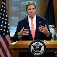 U.S. Secretary of State John Kerry delivers a statement about the use of chemical weapons in Syria at the Department of State August 26, 2013 in Washington, DC. Kerry said that chemical weapons had been used to kill scores of people during the ongoing civil war in Syria and that the government of President Bashar al-Assad had used shelling to destroy the evidence.