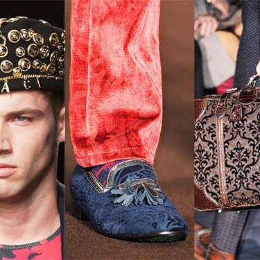 Hat by Versace, shoe by Etro, bag by Gucci.