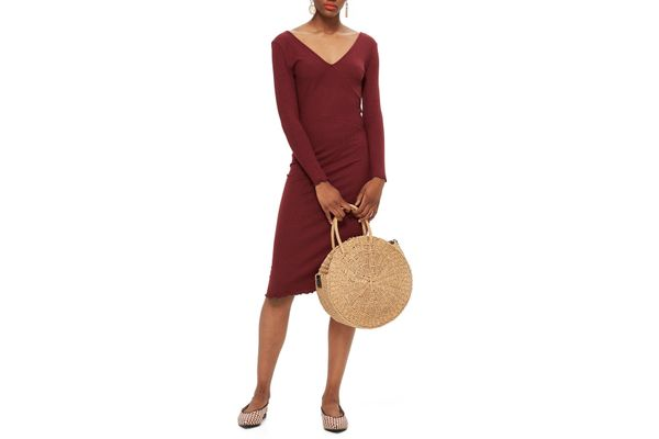 Topshop Ribbed Body-Con Midi Dress