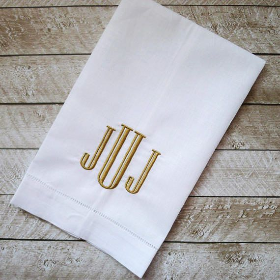Monogrammed Linen Hand Towel, Personalized Tea Towel, Embroidered Hemstitched Linen Towel
