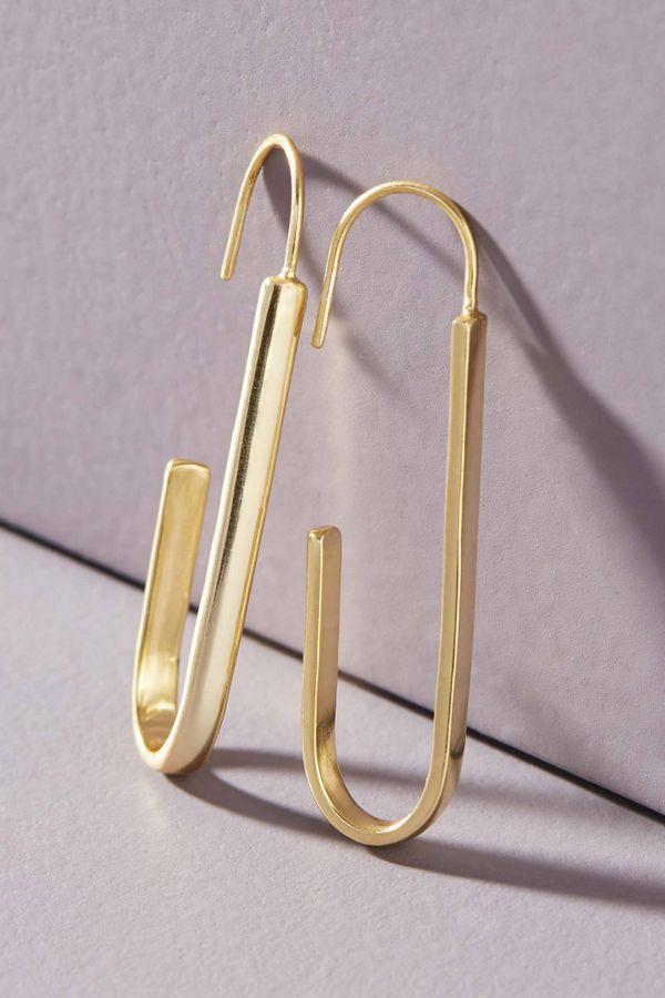 Anthropologie Paper Clip Hoop Earrings