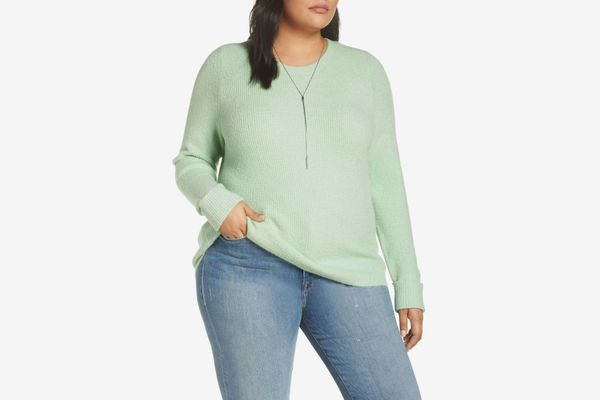 Halogen Cuffed Sleeve Ribbed Sweater