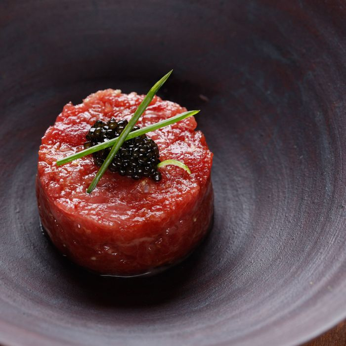 Tuna tartare, with caviar.