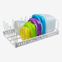 Food Container Lid Organizer & Adjustable Metal Lid Holder Rack